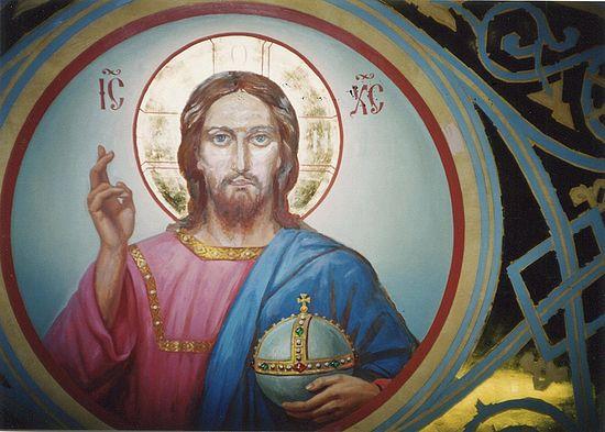 Лик Христа (на фото еще не дописан). Автор: прот. Герасим Иванов