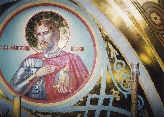 Святой Александр Невский (на фото еще не дописан). Автор: прот. Герасим Иванов