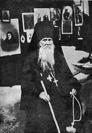 Преподобный Амвросий Оптинский в своей келье в Шамордино