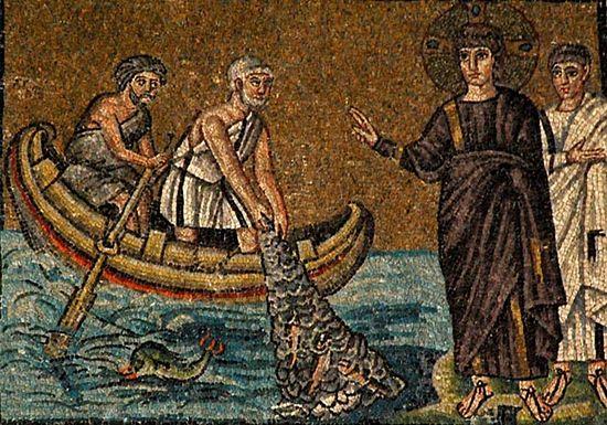 Чудесный улов рыбы. Мозаика VI в. Сент Аполинарий Нуово, Равенна