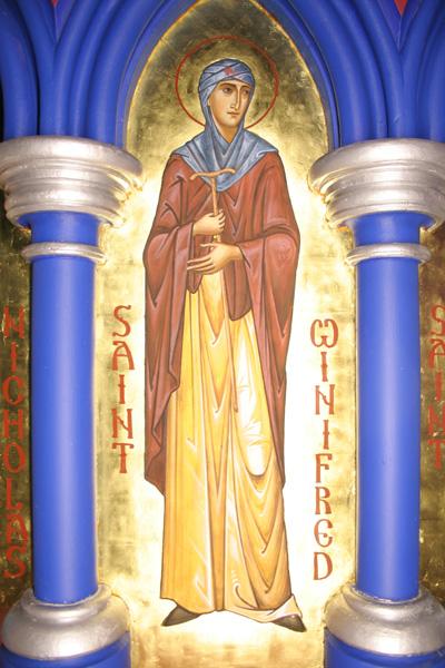 Икона св. Винефриды (иконописец Айдан Харт, Шрусбери)